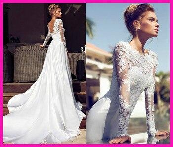 vestido de noiva festa longo robe mariee Long Sleeves Satin Lace Bridal Gowns Wedding Dress 2019 Chapel Train