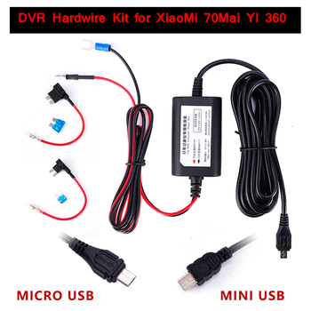 Mini Micro USB Car Dash Camera Charger Adapter Cam Hard Wire DVR Hardwire Kit for XiaoMi 70Mai YI 360 3.2m 12v-24v to 5v 2.5A