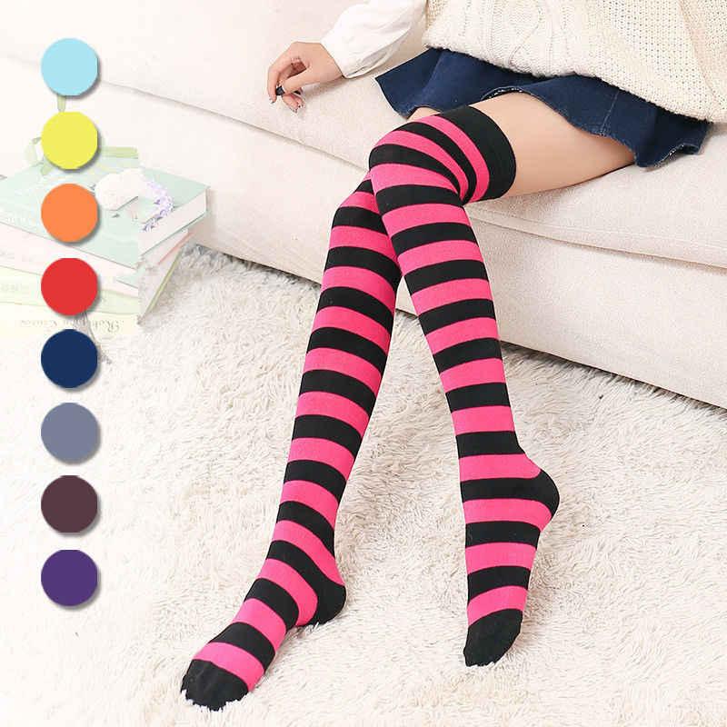 1 ペア新女性女の子膝ロングストライププリント腿高化靴下 11 色甘いかわいい暖かい卸売ロット