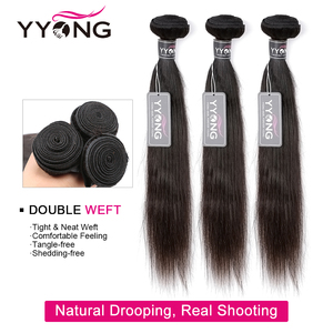 Image 3 - YYong Hair 3 Bundles Brazilian Straight Hair Bundles With Closure Pre Plucked 13*4 Ear To Ear Lace Frontal Closure With Bundles