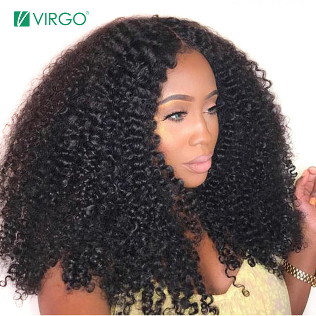 $ US $60.80 Virgo Mongolian Afro Kinky Curly Wig Natural 1B Lace Front Human Hair Wigs For Black Women Pre Plucked 150 Density Remy Wigs