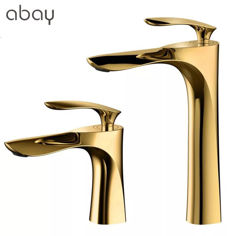 Luxury Brass Basin Faucet Bathroom gold handle Black body Faucet Painting Finish Basin Sink Tap Mixer Hot & Cold Water Faucet