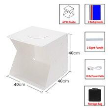 OWDLF мини складной светильник коробка для фотосъемки в фотостудии софтбокс 2 Панель светодиодный светильник мягкий чехол для фото Набор для ...