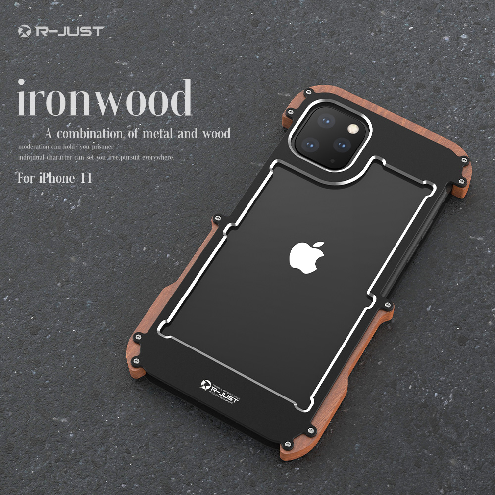 Metal Aluminum wood Case for iPhone 11 2019  iPhone 11 Pro Max  Case For iPhone 11 Pro Max Cover shockproof phone case LuxuryHalf-wrapped Cases   -