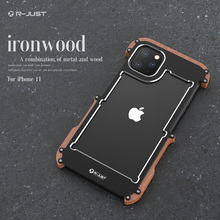 Metal Aluminum wood Case for iPhone 11 2019  Pro Max For Cover shockproof phone case Luxury