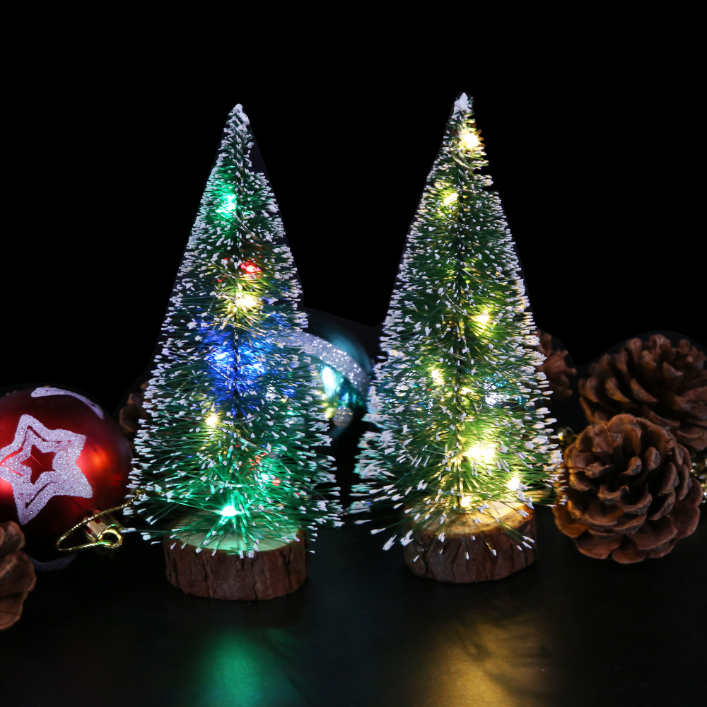 Christmas Decorations Christmas Desktop Furnishings Green Frost Sideband LED Light Pine Needle Dusting Powder Mini Small Christm