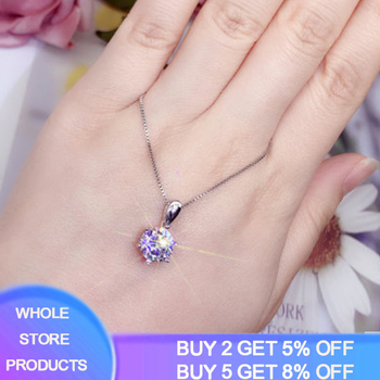 Sell at a loss! Luxury Classic 1ct Lab Diamond Pendant Necklace With Box Chain White Gold Color Silver 925 Women Gift