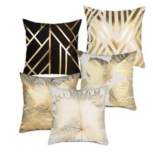 Image 2 - Fuwatacchi Polyester Gold Letter Pillow Case Black Cover Sofa Car Waist Cushion Throw Pillow Sofa Decorative Pillows 45*45cm
