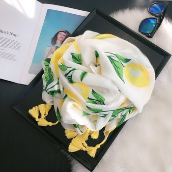 Fashion Autumn Women Viscose Scarf Lemon Tree Floral Tassel Beach Hijab Shawls and Wraps Female Foulards Echarpe Muslim Hijab 2020 hijab shawls and wraps summer cotton tassel scarf flower pattern sunscreen large shawl linen scarf beach towel echarpe