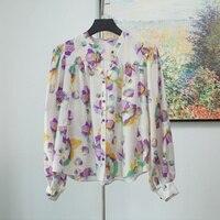 Women Shirt New Flower Printing 100% Silk Shirt