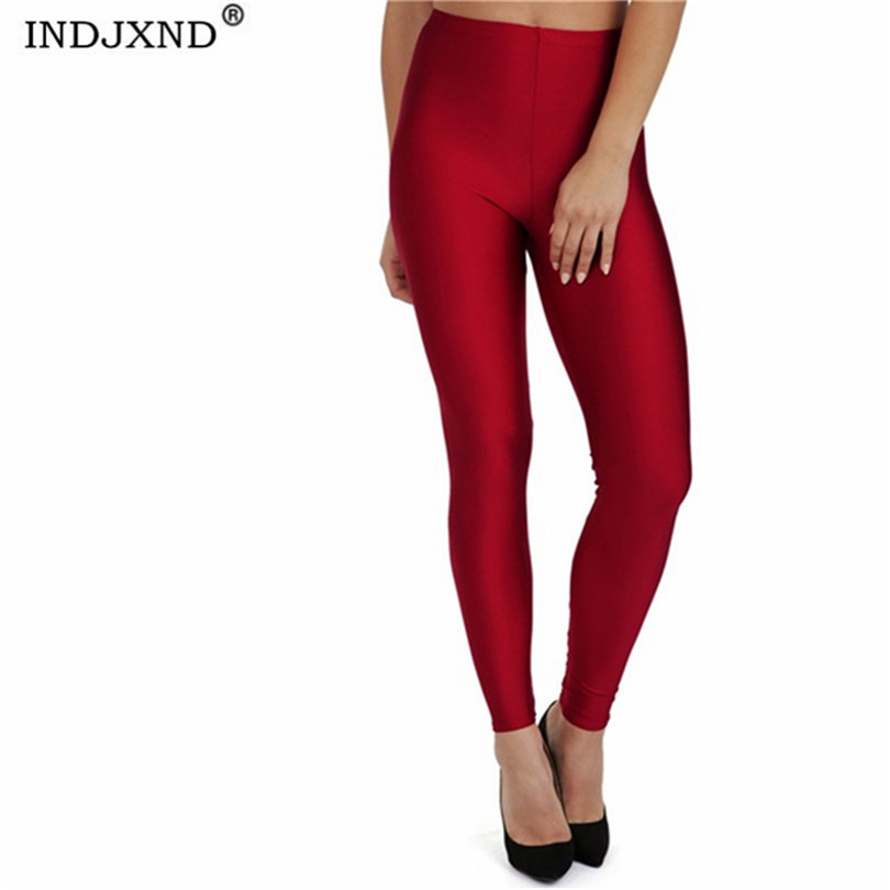 INDJXND New Women Shiny Black Legging Candy Neon Leggings Ladies Push Up Slim Leggings High Waist Stretchy Plug Size Clothing