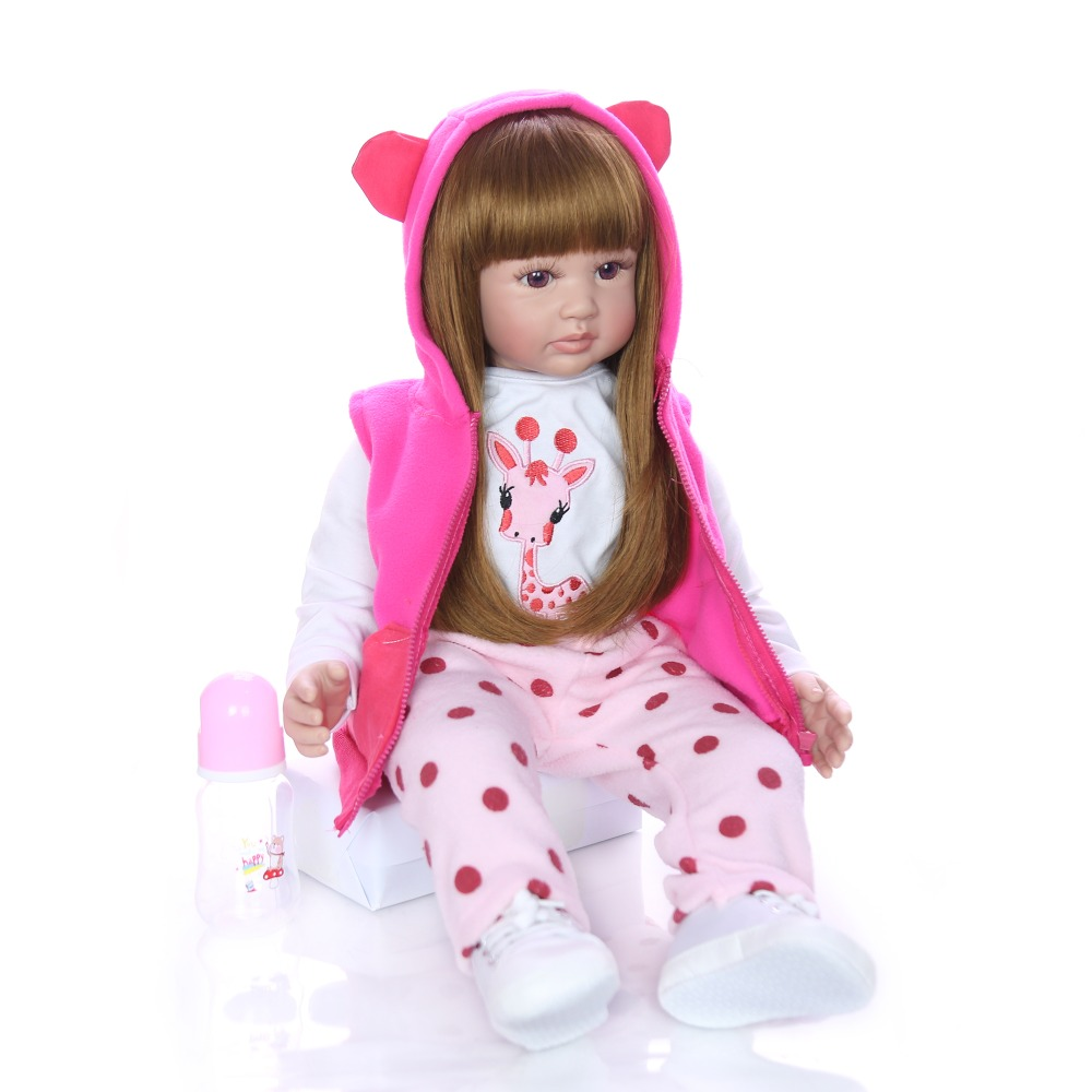 "24"" 60cm Realistic Soft Silicone Reborn Baby Smile Girl Dolls Lifelike Newborn Doll Girl bebe Gift Reborn Dolls Bonecas Toys-in Dolls from Toys & Hobbies    3"