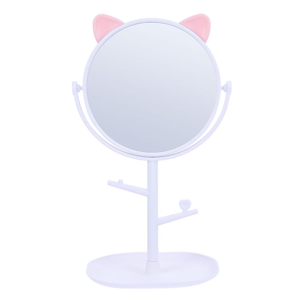 Dressing Table Mirror Rotatable Makeup Mirror Vanity Mirror with Storage Tray