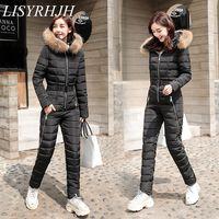 2019 down jacket suit women piece thick coat winter fashion one piece suits waist slim ski women parka
