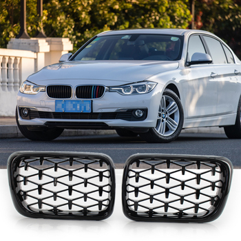 1 Pair Left&Right Meteor Black ABS Plastic Front Kidney Grill Mesh Grille Modified Meteor Grille Fits BMW E36 1997-1999 3 Series image