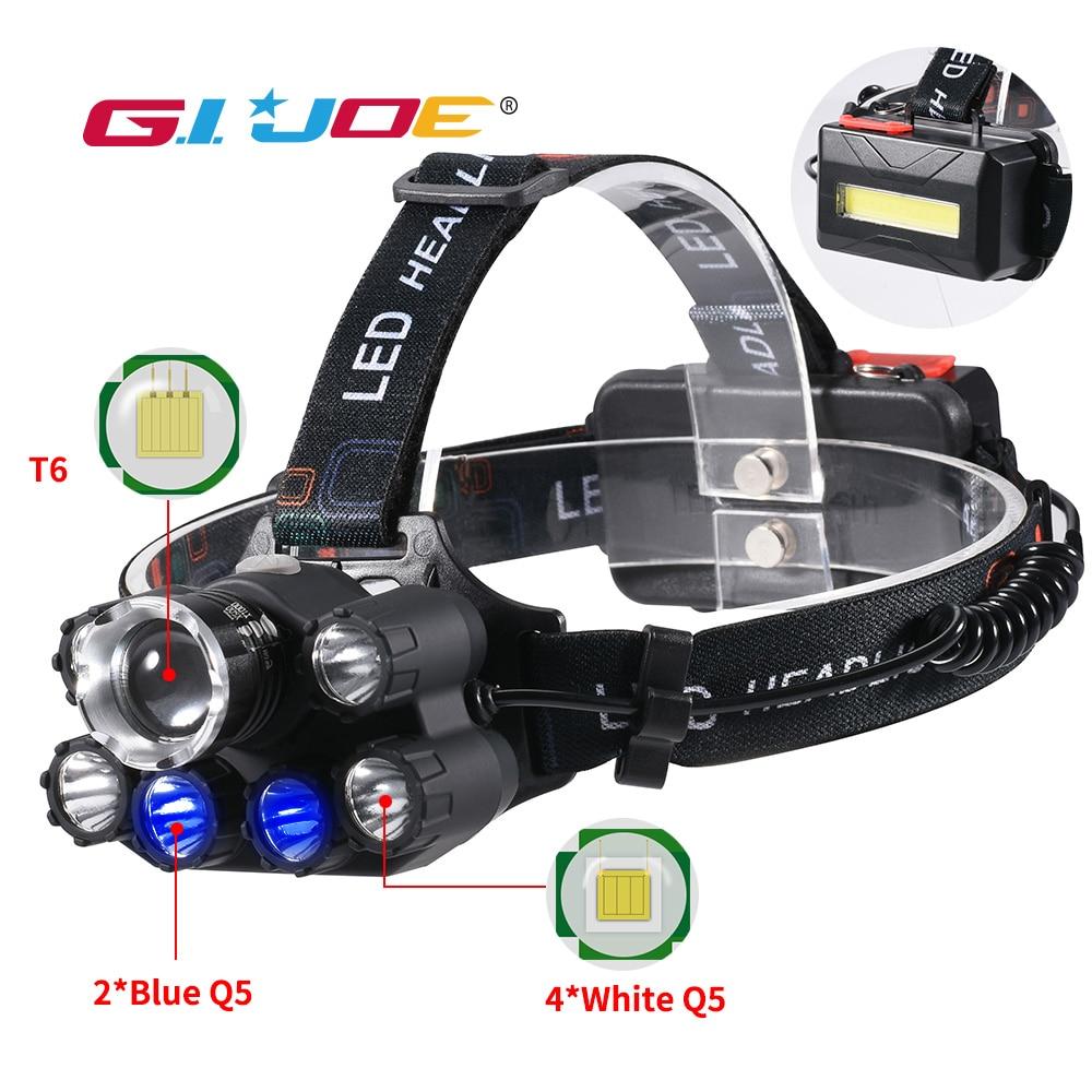 GIJOE Led Headlight T6/Q5 Headlamp Waterproof Uv Black Light Use 2*18650 Battery Plastic Case Multifunction Camping Hiking Light