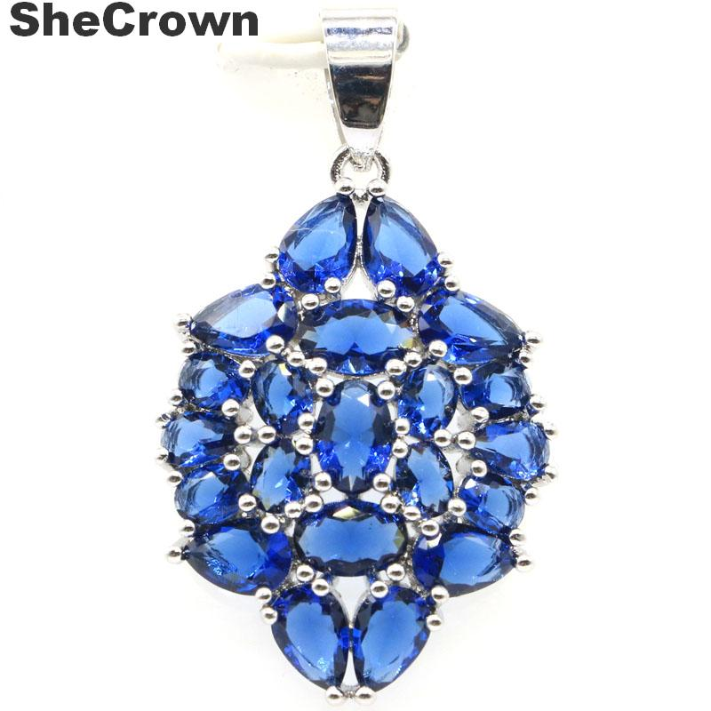 38x22mm Special Created Tanzanite Gift For Sister Silver Pendants