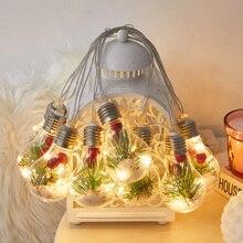 4M 10 Bulbs LED Globe String Light Christmas Decoration Bulb Light with Pine Needle Fruit inside Fairy Lights Home Wedding Decor