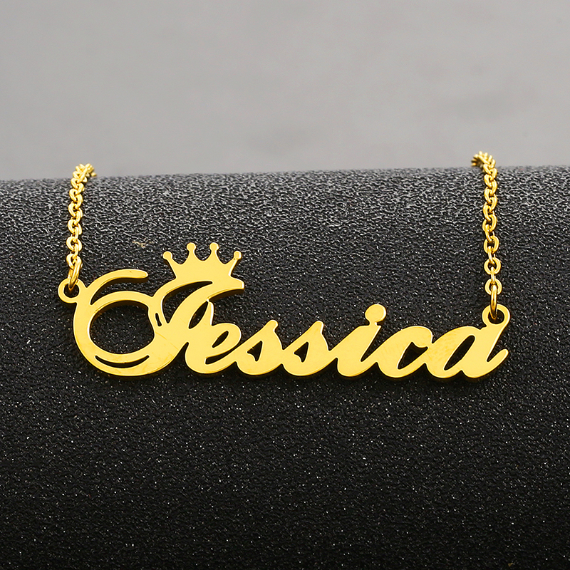 Crown Name Necklace For Women Personalized Nameplate Chain Necklaces Stainless Steel Customized Jewelry Mother Daughter Gifts