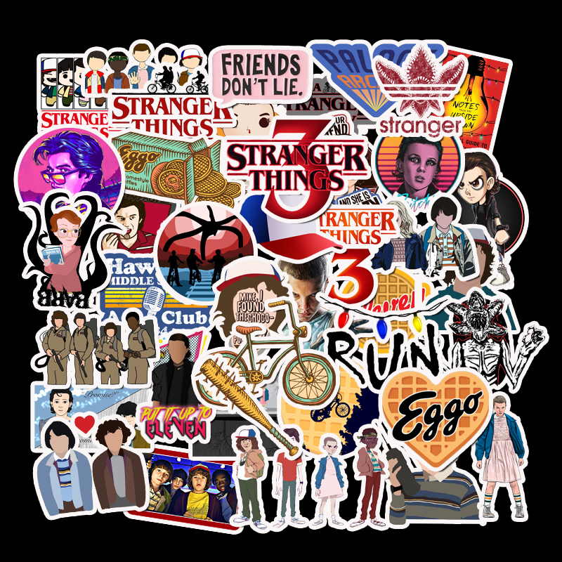 50Pcs/Set Stranger Things 3 Stickers For DIY Luggage Phone Laptop Graffiti Stickers Vinly Waterproof DIY Decals