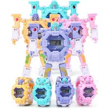 2 in 1 Robot Transformation Wristwatch Toy Unique Electronic Watch for Boy Children Sport Toys