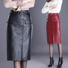 Saias de couro do plutônio feminino midi lápis saia 2018 novo outono e inverno cintura alta magro na altura do joelho vermelho com cintos