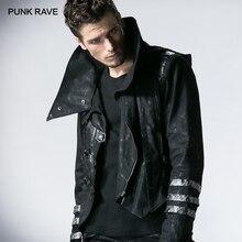 PUNK RAVE hombres gótico largo invierno negro largo ajustable chaquetas estilo Punk Visual Kei moda Abrigo con capucha rompevientos hombres