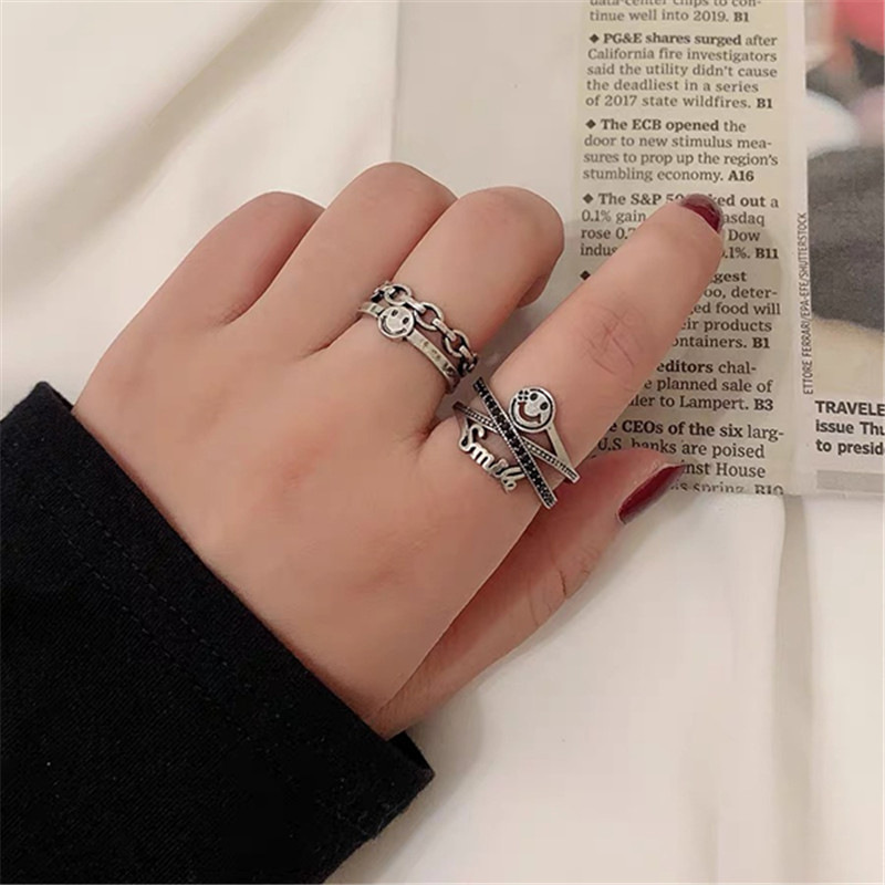 New Fashion Accessories Do Old Dark English Opening Adjustable Smiley Index Finger Ring