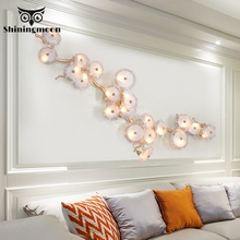 nordic creative copper led wall lamp lighting modern palm glass wall lamp restaurant will bring you furniture wall lamp lighting Modern Copper LED Wall Lamp Brass Tree Branch Wall Light Nordic Wall Sconce Deco Light Fixtures Living Room Dining Room Lighting