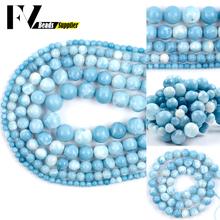 4 6 8 10 12mm naturalny klejnot niebieski chiński Larimar koraliki okrągły element dystansowy kamień koraliki do tworzenia biżuterii DIY bransoletka naszyjnik Charms tanie tanio fascinante viento CN (pochodzenie) NONE Okrągły kształt 10-80g Moda FV1656 Natural Gem Blue Chinese Larimar Beads Bracelet Necklace Jewelry DIY Beads For Jewelry Making