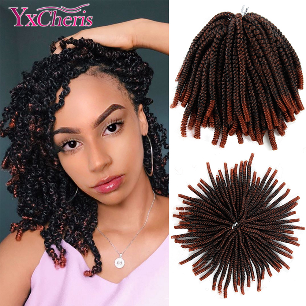 YxCheris 60 Roots Spring Twist Hair Extensions Black 613 Ombre Crochet Braids Synthetic Braiding Hair Nubian Twist Bounce Curl