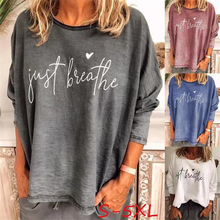 Full Sleeve Letter Summer Tshirts For Women Loose Plus Size Round Neck Tops