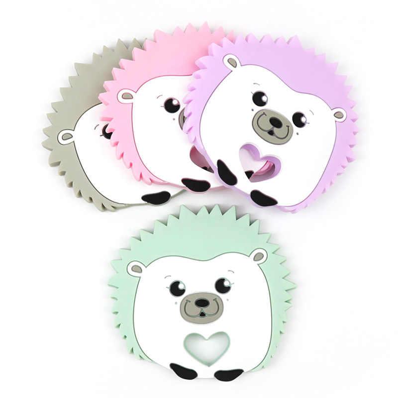 De silicona bebé mordedor de dibujos animados Animal erizo anillo mordedor de BPA libre bebé silicona masticar encantos Toddle bebé juguetes