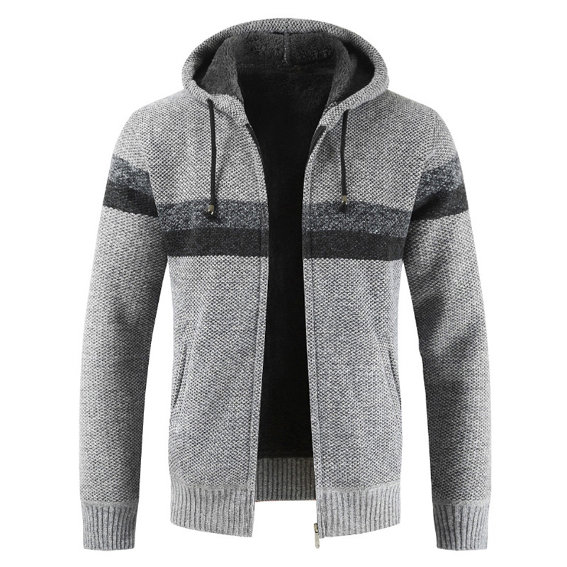 DIHOPE Sweater Coat Men 2020 Winter Thick Warm Hooded Cardigan Jumpers Men Striped Cashmere Wool Liner Zipper Fleece Coat Men