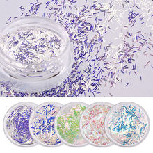 Cross-Border Exclusive Nail Glitter Sequins 6 Color Suit Blue Lace Sequins Symphony Long Short Lace Stickers(China)