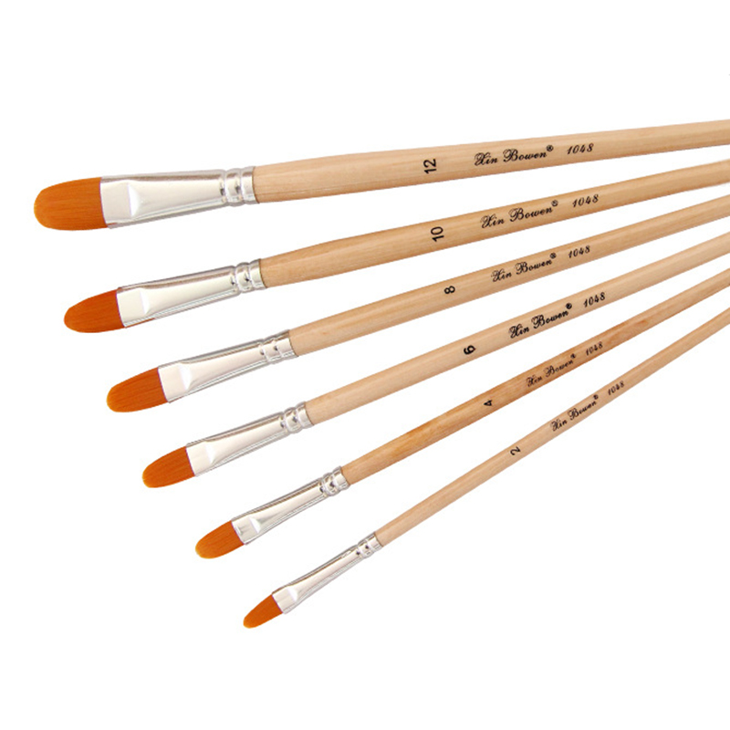 6Pcs/lot Nail Round Shape Nylon Hair Wooden Handle Paint Brush Set Tool For Art School Watercolor Acrylic Painting Supplies