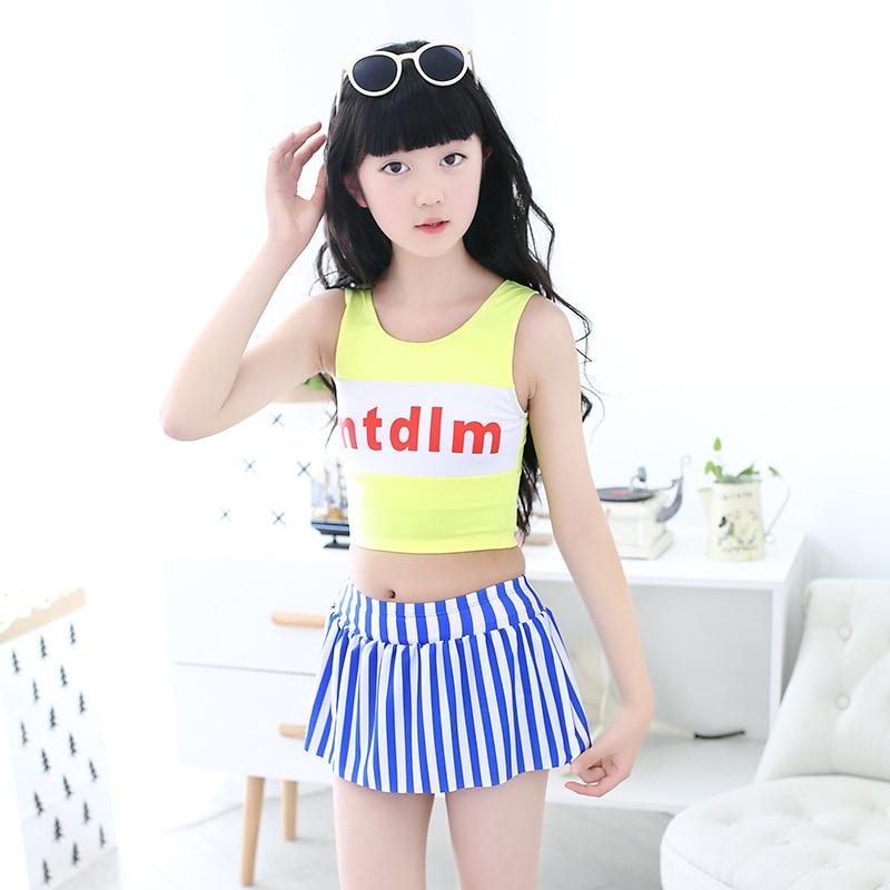 Children Split Type Two-Piece Bathing Suit GIRL'S Big Boy Hip Hop Sporty Stripes Boxers Skirt Swimwear