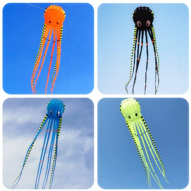 3D 8m Striped Octopus Kite Large Animal Software Inflatable Kite Adult Kite Outdoor Sports Flying Tool High Quality Anti-tearing image
