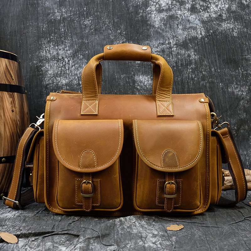 MAHEU Doctor Leather Men Portfolio Genuine Leather Lawyer Briefcase Document 13.6
