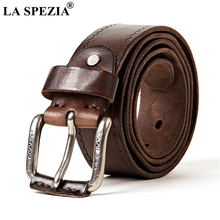 LA SPEZIA Real Leather Men Casual High Quality Belt Italy Genuine Male Cowskin Buckle Black Coffee 120cm