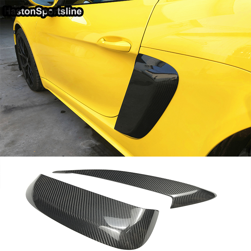 For Porsche <font><b>718</b></font> <font><b>Boxster</b></font> Cayman 2016~2018 Carbon Car Side Air Intakes Vents Cover Side Vents image