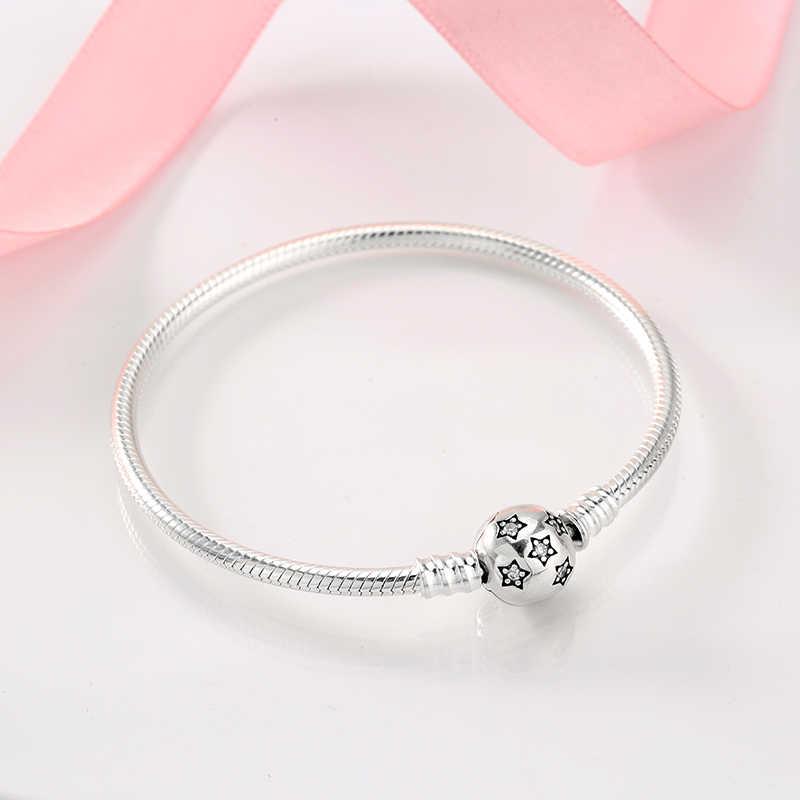 جديد 925 سوار فضية شكل دائري ثعبان سلسلة للمرأة اكسسوارات مجوهرات الأزياء هدية عيد الأم