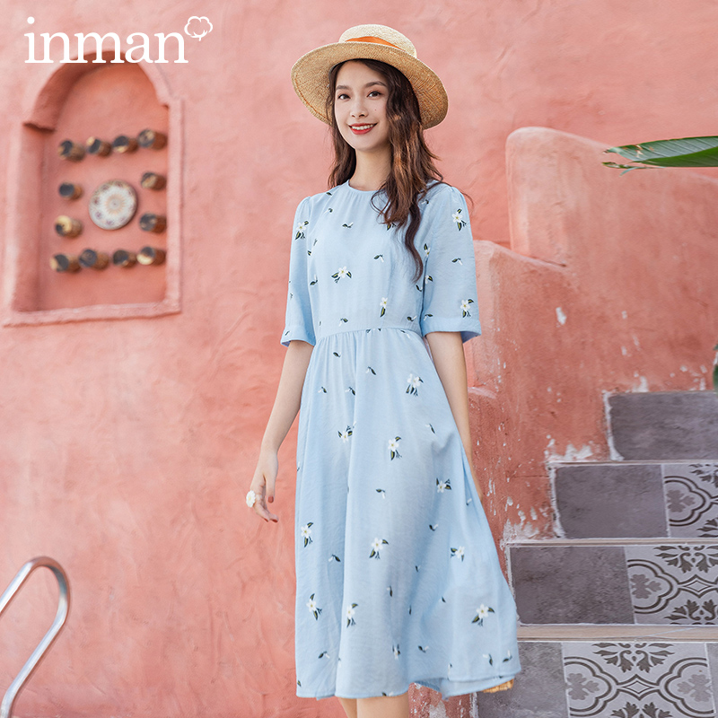 INMAN 2020 Summer New Arrival Little White Flower Print Nipped Waist Umbrella Japanese Style Half Sleeve Dress