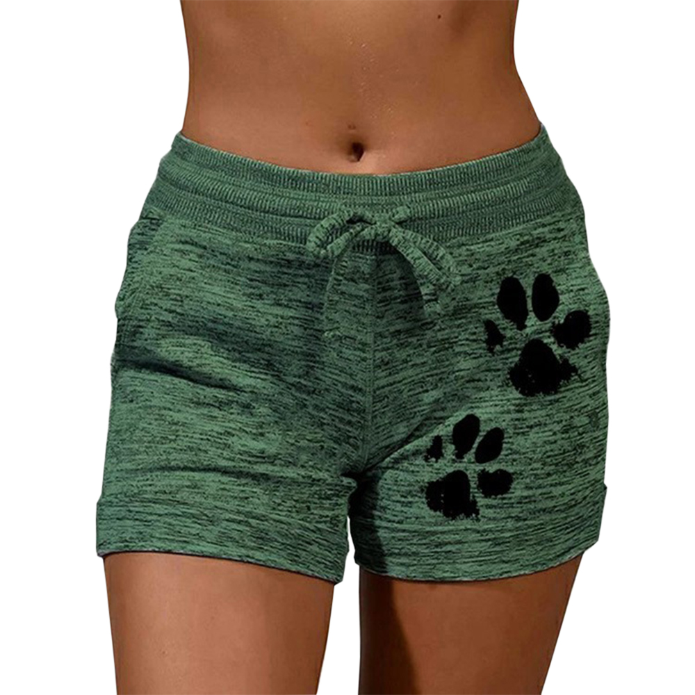 New Summer Fast Drying Drawstring Cat Paw Print Shorts Lace Up High Waist Elastic Cotton Short Women Beach Casual Sport Shorts