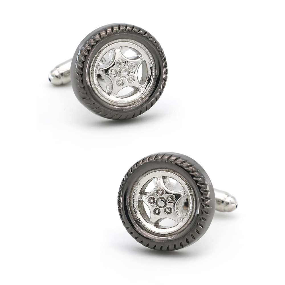 Auto Design Automobile Car Tire Cufflinks For Men Quality Copper Material Gunblack Color Cuff Links Wholesale&retail