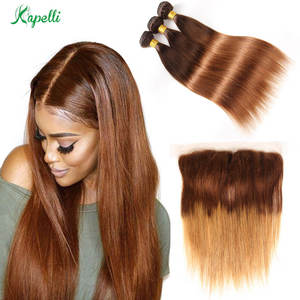 Ombre-Bundles Closure Frontal Straight-Hair Non-Remy-Hair Brazilian Weave with 3 Blonde