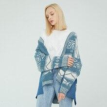 Autumn High Quality Wool + Denim Patchwork Sweater Cardigan Women Ethnic style Embroidery Casual Coat kimono cardigan