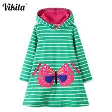 VIKITA sonbahar kış kız elbise bebek kız giysileri kapşonlu elbise çocuklar kostüm prenses elbise çizgili kelebek kız elbise