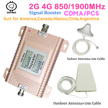 Zqtmax 850 1900 impulsionador de sinal de telefone celular 850mhz 1900mhz gsm repetidor 2g 3g 4g repetidor de sinal celular para casa inteligente conjunto