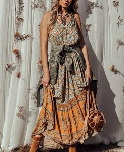 Image 4 - Vintage chic women  floral print sleeveless  beach Bohemian Spaghetti Strap maxi dress Ladies Summer Boho dress vestidos